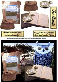 wise old owl on Craftsuprint - Add To Basket! Best Dad, Cardmaking, Decoupage, Owl, Dads, Greeting Cards, Place Card Holders, Make It Yourself, Birthday