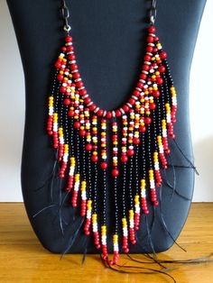 Collier tribal collier frangé Native par MontanaTreasuresbyMJ