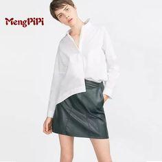 MengpipiSexy High Waist Zipper Patchwork PU Leather Package Hip Skirt vestidos New 2016 Women Summer Bodycon Skirts faldas mujer #Affiliate
