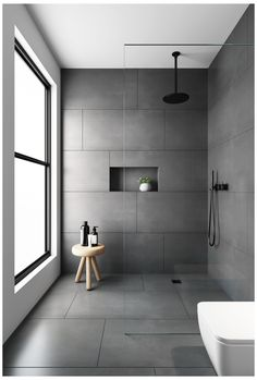 Grey Bathroom Tiles, Bathroom Tile Designs, Modern Bathroom Design, Bathroom Interior Design, Bathroom Flooring, Bathroom Ideas, Bathroom Organization, Shower Tiles, Large Tile Shower
