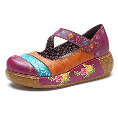 048b164d905772 Socofy SOCOFY New Printing Splicing Flower Pattern Flat Leather Shoes is  hot-sale. Come to NewChic to buy womens boots online Mobile.