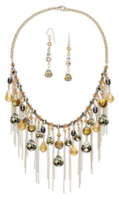Bib-Style Necklace and Earring Set with SWAROVSKI ELEMENTS