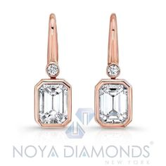 1.00 CARAT G VVS2 EMERALD CUT DIAMOND DROP BEZEL SET EARRINGS SET 18K ROSE GOLD | eBay