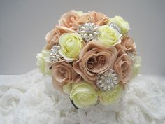 Stunning Bouquet Champagne and Ivory Silk Rose Brooch Bouquet with Lace Underside Gorgeous Pearl and Rhinestone Brooches by theraggedyrose on Etsy
