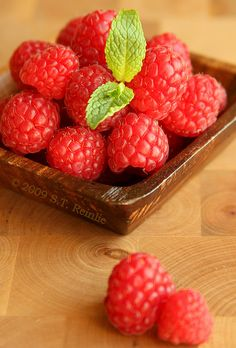 raspberries!! all that's missing is white chocolate yumm