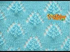 Punto Rombos Calados con perlitas (abalorios). Tejido con dos agujas # 552 - YouTube