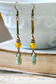 Long bohemian beaded teardrop earrings/boho by tiedupmemories