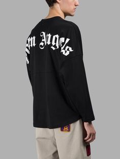 PALM ANGELS PALM ANGELS MEN'S BLACK LONG SLEEVES T-SHIRT. #palmangels #cloth #t-shirts