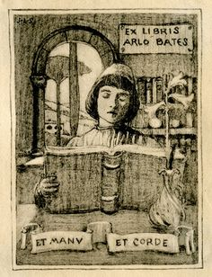 """""""both with hand and heart"""" Bookplate of Arlo Bates - Pratt Institute Libraries"""