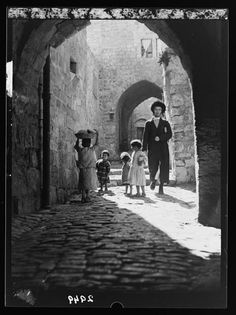 Streets in old Jerusalem, Palestine, vintage photographs
