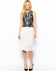 Image 1 ofOasis Pleated Lace Dress