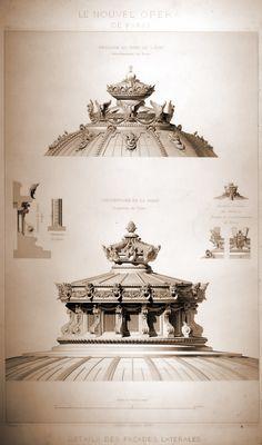 Paris - Opera - détail des Façades Latérales - Pavillon du Chef de l'Etat, Amortissement du Dôme & Couverture de la Salle : Lanterne du Dôme.
