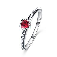 Aaishwarya 925 Sterling Silver Hallmarked Ruby Red AAA Cubic Zirconia Heart Love/Promise Ring @ Rs. 599/- #promisering #redheartring #heartring #lovering #CZring #CZheartring #silverhallmark #silverheartring #chicjewelry #fashionjewelry #romanticjewelry