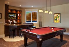 Lane Myers Construction Custom Home Builder Free Residence Basement Pool  Table And Bar