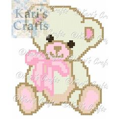 Pink and Off White Teddy Bear Corner to Corner Afghan Baby Blanket or Pillow PDF Pattern Graph + Knitted Baby Cardigan, Knitted Baby Blankets, Baby Blanket Crochet, Crochet Baby, Bear Blanket, C2c Crochet, Graph Crochet, Crochet Squares, Crochet Stitches
