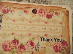 Distress Edges Pastel Pink Roses Shabby Chic Style Thank by mslizz