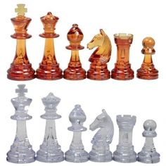 """3 3/4"""" Amber & Clear German Staunton Plastic Chess Pieces  Pretty, different, yet classical."""