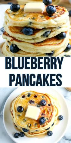 These are the best Blueberry Pancakes because they�re so simple and easy to make. Not only are they loaded full of fresh blueberries but they�re also still light and fluffy, too! Freeze Pancakes, How To Cook Pancakes, Pancakes For Dinner, Tasty Pancakes, Homemade Pancakes, Blueberry Breakfast, Blueberry Pancakes, Blueberry Recipes, Breakfast Recipes