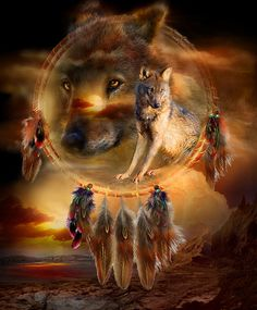 Dream Catcher - Wolfland by Carol Cavalaris. Prints available at Fine Art America. Wolf With the fire of the sun and moon Burning in your ancient wise eyes And the howl of the wild wind In your cries You have been here long before man You are the body, spirit and soul Of this land. WolfLand prose by Carol Cavalaris This painting of two wolves within a dream catcher is from the 'Dream Catcher' collection of art by Carol Cavalaris.