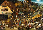 Pieter Bruegel the Elder , Proverbes flamands, 1559, huile sur bois (chêne) 117,2+163,8 cm, signé. -  Deux des fils de Pieter Bruegel furent peintres: Pieter dit d'Enfer (v. 1564-v. 1634) et Jan, dit de Velours (1568-1625).