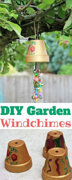 How to make easy DIY garden windchimes with kid's. Easy garden kid's craft. Garden windchime craft for children