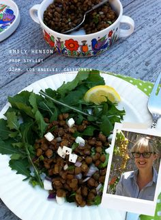 This salad looks delicious and easy. Arugala, cold lentils, chopped red onion and mozzarella, lemon juice, olive oil.