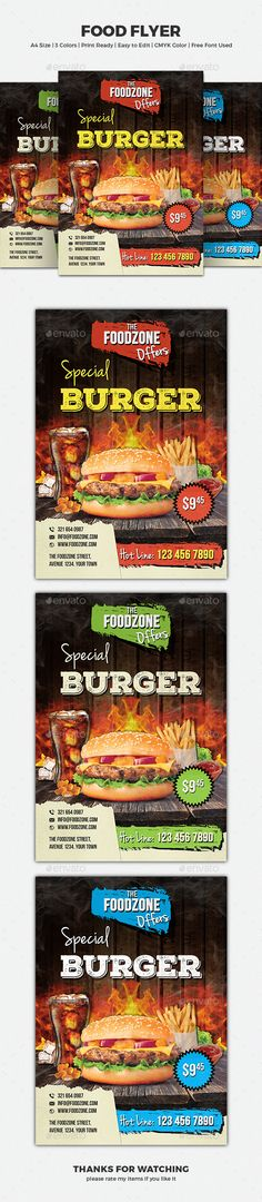 Food Flyer Design Template - Restaurant Flyer Template PSD. Download here: http://graphicriver.net/item/food-flyer/16595528?ref=yinkira