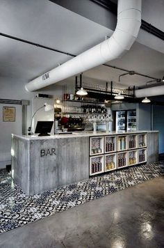 Architecture. BAR. Concrete & Glass. Urban. Street. Simple. White & Grey. Pattern. Cash Register. Beer. Cool.