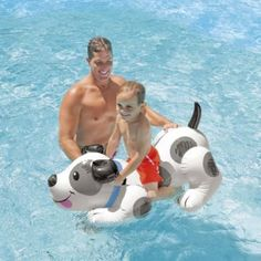 Amazon.com: SUPOW® Giant Friendly Dog Shaped Rider Inflatable Swimming Ride-On Raft Mattress Swimming Pool Toy For Children Baby: Toys…
