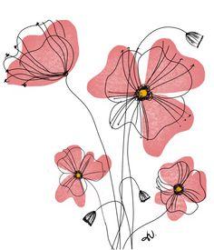 Line Art Flowers, Flower Line Drawings, Cool Art Drawings, Flower Art, Watercolor Cards, Watercolor Illustration, Watercolor Flowers, Flower Doodles, Diy Canvas Art