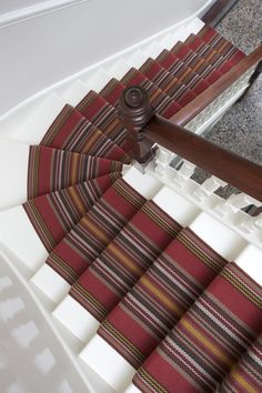 Stair Runners, carpet runners, stair rods and hall runners Stair Banister, Stair Rods, Banisters, Hallway Seating, Striped Carpets, Winding Staircase, Carpet Stairs, Carpet Design, Carpet Runner