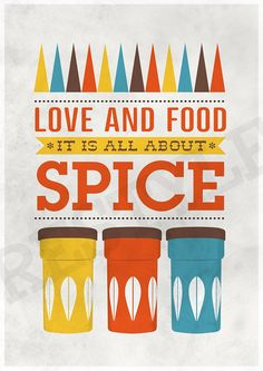 Art for Kitchen Cathrineholm Typography art print inspirational quote - Love & Food A3 poster print. $19.00, via Etsy.