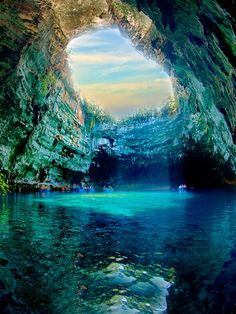12 Awesome Places That Worth To Be Seen. The Breathtaking Melissani Cave in Greece Dream Vacations, Vacation Spots, Places To Travel, Places To See, Places Around The World, Around The Worlds, Beautiful Places, Beautiful Pictures, Amazing Places
