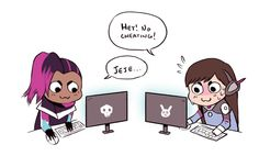 Sombra and D.va play video games together