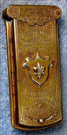 brass Avery golden casket needle case, c.1870