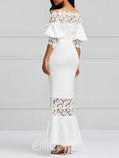 Clocolor Elegant Long Dress Women White Lace Slash Neck Mermaid Dresses Sexy Hollow Lace-Up Bodycon Party Maxi Dresses Vestidos Lace Maxi, Maxi Dress With Sleeves, Lace Dress, Dress Skirt, Bodycon Dress, Elegant Dresses, Sexy Dresses, Evening Dresses, White Maxi Dresses