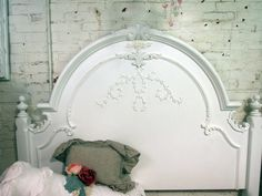 ❥ Painted Cottage Chic Shabby White Queen Romance Bed