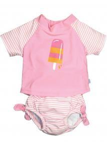2 Piece Baby Girls Infant and Toddler Rashguard and Swim Diaper Set - Iplay - ipa3544 in Pink