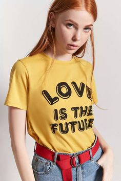 Product Name:Love Is The Future Graphic Tee, Category:top_blouses, Price:12.9