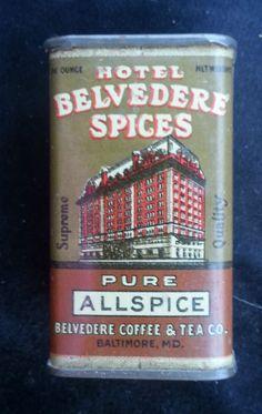 Rare Spice Tin Hotel Belvedere Spices Allspice Belvedere Coffee Tea Baltimore MD