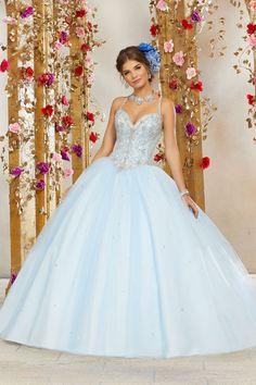 b53095eb2c4 Jewel Beaded Bodice on a Tulle Ball Dress Skirt Quinceanera Dress. Matching  Bolero Jacket Included