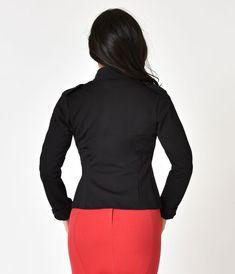 Vintage Style Black Stand Collar Jacket