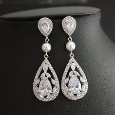 Crystal Bridal Earrings Wedding Jewelry Cubic by poetryjewelry