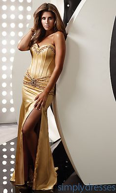Strapless Gold Evening Gown by Jasz 4322 at PromGirl.com