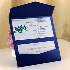Navy Blue Pocket Wedding Invitaions