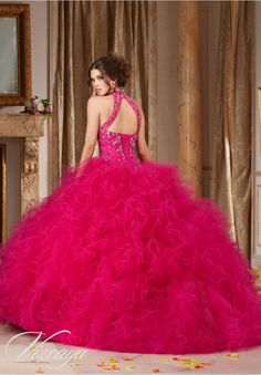 Quinceanera Dress 89103 Jeweled Beading on a Ruffled Tulle Ball Gown