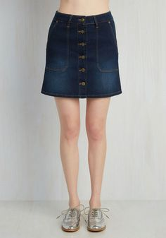 Impress My Buttons Skirt. When wardrobe woes leave you wanting more, this stretch denim skirt will lift you right back up! #blue #modcloth