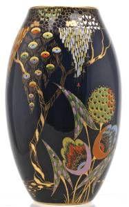 Huge Carlton Ware Art Deco Devils Copse Enamelled & Gilded Vase. Pattern No 3787