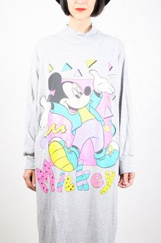bdfe7fc34 Vintage Mickey Mouse Dress New Wave 1980s Dress Mickey Mouse T Shirt Dress  Mickey Mouse Sweater Mickey Mouse Sweatshirt Gray Pastel L Large