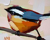 Nuthatch no. 18 bird limited edition art print by Moulton 5 x 5 inch prattcreekart